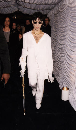 <p>Prince in all white matching separates at the launch of VH1 music channel, 1994.</p>