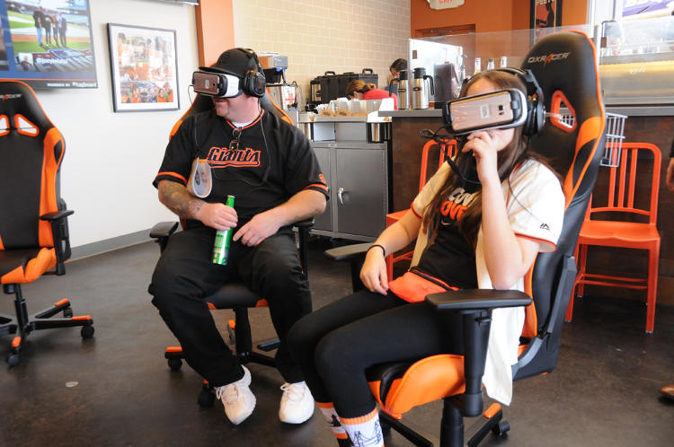 <p>Giants fan Anthony Ramirez and his daughter were the very first fans to try out the team's VR content.</p>