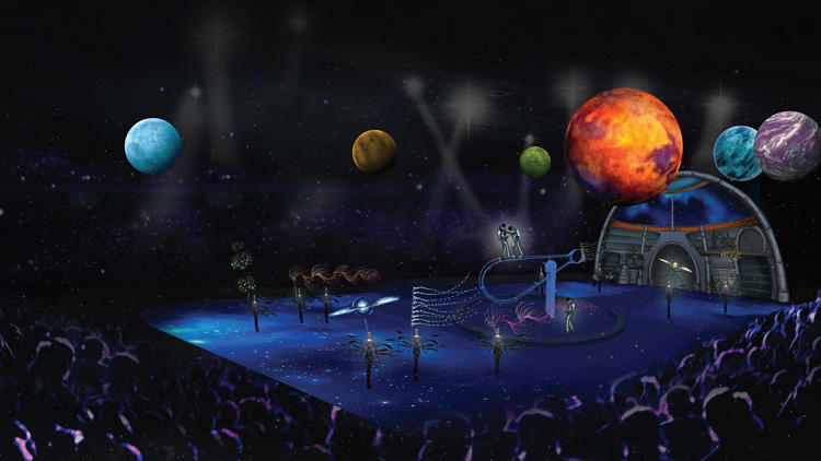 <p>Because of the ice, the circus is able to incorporate floor-length projections for the first time, creating a more cinematic feel.</p>