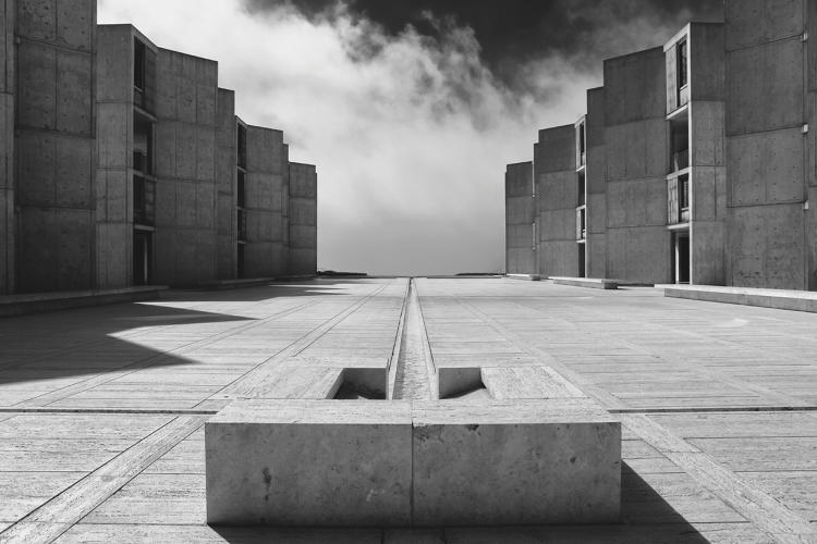 <p>Salk Institute, La Jolla, California, USA, 1965 by Louis Kahn</p>