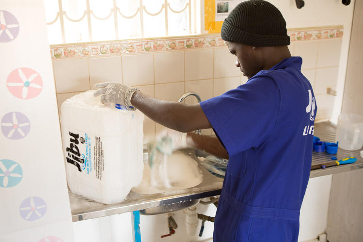 <p>The entrepreneurs start paying back the loan when they start selling 1000 liters per day of water.</p>