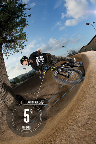 <p>Three-time X Games gold medalist Kyle Baldock puts Intel's Curie module (mounted on the bike's frame) to the test on Camp Woodward's BMX dirt track.</p>