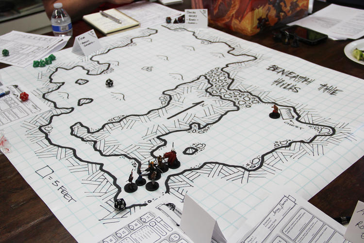 <p>Close-up of a <em>D&amp;D</em> tabletop game.</p>