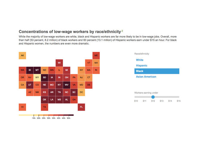 <p>While the darker shaded states here have higher concentrations of low-wage black workers.</p>