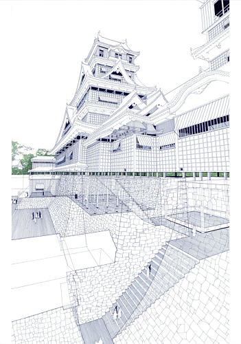 <p>Drawing of the existing Kumamoto Castle (2005)</p>