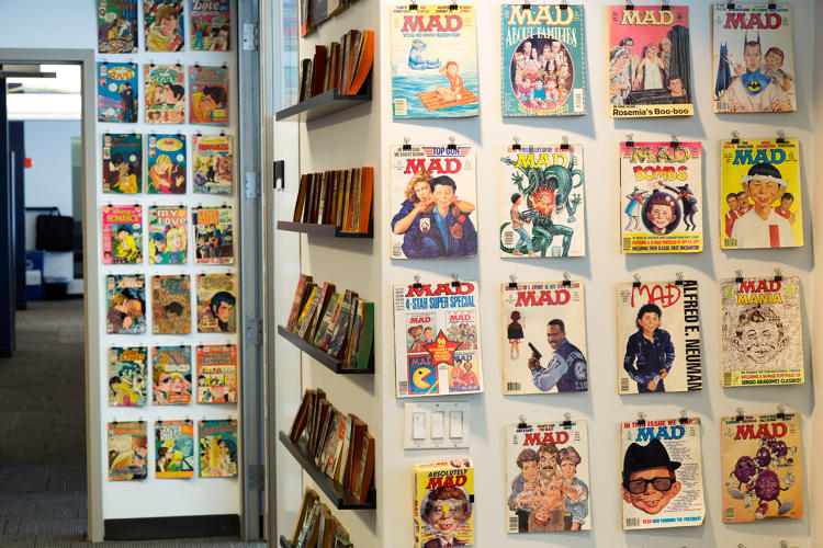 <p>Koppel's collection of <em>Mad</em> magazines--&quot;where I learned most of what I know about design,&quot; he says.</p>