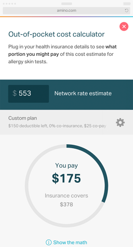 <p>The cost estimates are also available in the company's &quot;Find a Doctor&quot; app.</p>