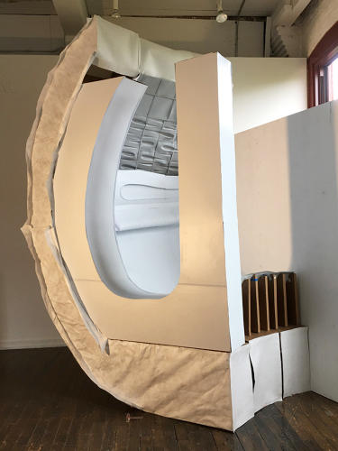 <p>A full scale model of the sleeping pod</p>
