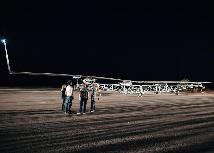 <p>Aquila in position prior to takeoff. (From left: Kathryn Cook, technical program manager for Aquila; Yael Maguire, head of Connectivity Lab; Mark Zuckerberg; Jay Parikh)</p>