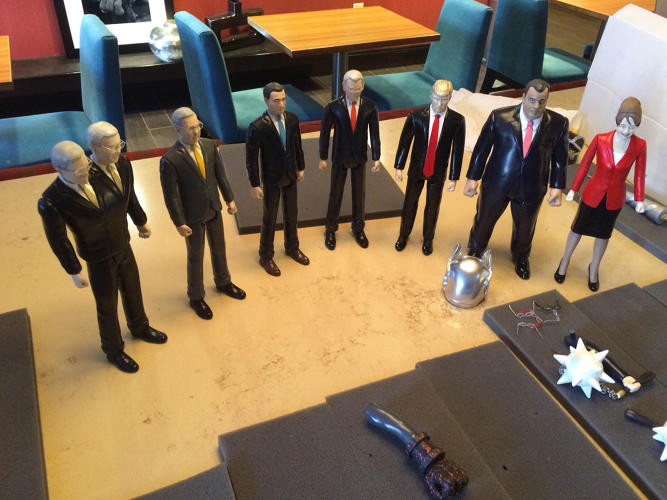 <p>The figures have visible joints, but can't actually move. &quot;They have no points of articulation--these are truly climate inaction figures.&quot;</p>