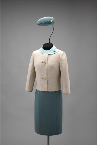<p>Trans World Airlines hostess uniform by Pierre Balmain, 1965</p>