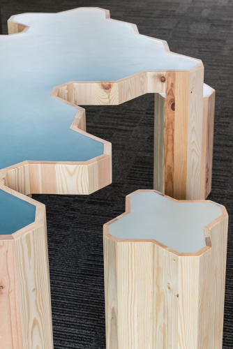 <p>The table and stools are made up of reclaimed wood from 25 shipping pallets.</p>