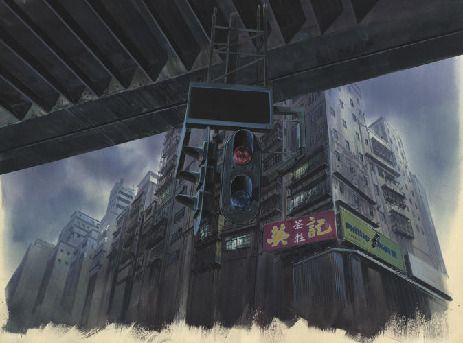 <p>Background for Ghost in the Shell (1995), cut 335 Gouache on paper and acrylic on transparent film. Illustrator: Hiromasa Ogura</p>