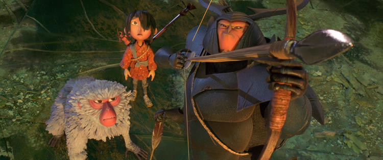 <p>Monkey (voiced by <strong>Charlize Theron</strong>), Kubo (<strong>Art Parkinson</strong>), and Beetle (<strong>Matthew McConaughey</strong>) in <em>Kubo and The Two Strings</em></p>