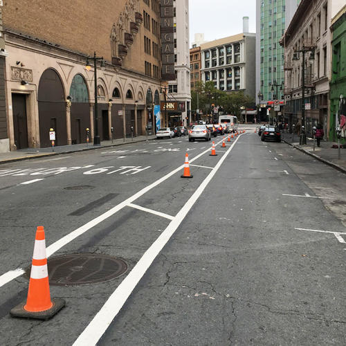 <p>Bike and pedestrian advocates in San Francisco are temporarily redesigning local bike lanes themselves.</p>