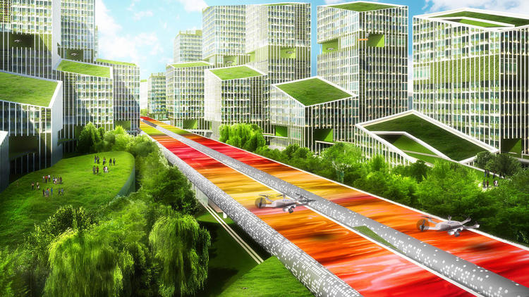 <p>In the design, two four-lane roads are enclosed in tubes to control pollution.</p>