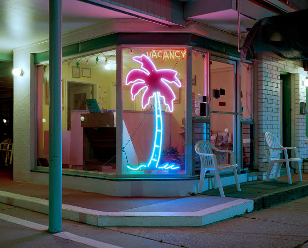 <p>Lu Fran Motel's bright neon palm tree doubles as a vacancy sign.</p>