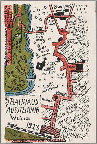 <p>Kurt Schmidt, Bauhaus Exhibition Postcard No. 19, 1923. Photolithograph printed in green, red, blue and black inks on paper. Harvard Art Museums/Busch-Reisinger Museum, Association Fund, BR49.640</p>