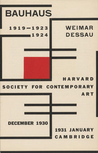 <p>Catalogue of the 1930 Bauhaus exhibition, Harvard Society for Contemporary Art, Harvard University Archives, HUD 3298, Box 1.</p>