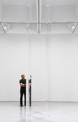 <p>Installation view of <em>Untitled (Acrylic Column)</em>, 1969–2011, and <em>Untitled (Acrylic Column)</em>, 1969–2011, in <em>Robert Irwin: All the Rules Will Change</em> at the Hirshhorn Museum and Sculpture Garden, 2016.</p>
