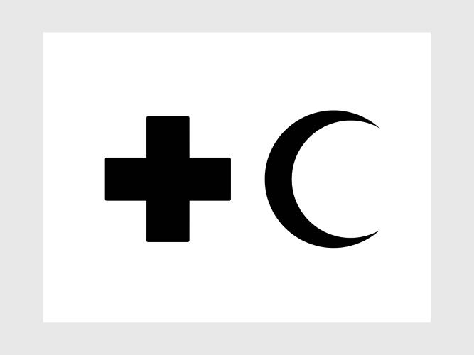 <p>The icon for first aid combines a red cross, the Western symbol for medical services, and the Arabic symbol of a half moon.</p>