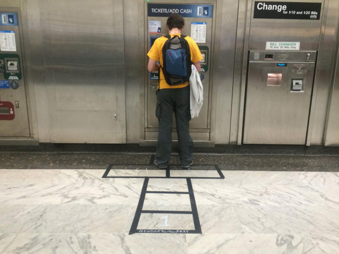 <p>Inside a BART station, Franks installed a hopscotch game leading up to a ticket kiosk.</p>