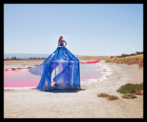 <p><em>Salty Water: South Bay Salt Flats Dress Tent</em>, (Installed in Salt Ponds transitioning to wetlands near Redwood City, CA), 2010.</p>