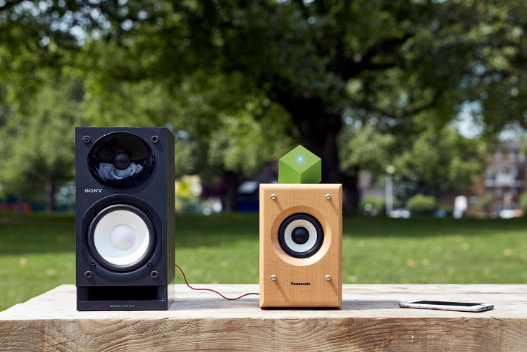 <p>The Vamp Speaker is made from completely sustainable and recyclable material. On the left is a speaker Paul Cocksedge rescued from the recycling center.</p>