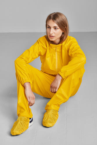 <p>The jumpsuit also covers riders' shoes.</p>
