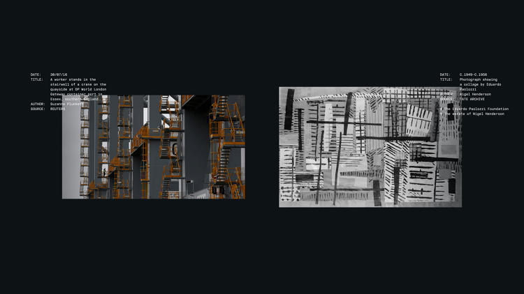 <p>A photo of the DP World London Gateway container port (left) and a collage by Eduardo Paolozzi (right)</p>
