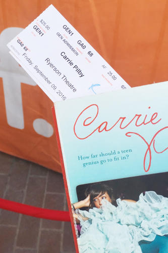 <p>My TIFF premiere tix tucked inside my copy of <em>Carrie Pilby</em> with all of my adaptation notes</p>