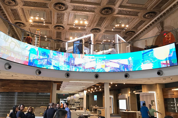 <p>The 48-foot curved video display.</p>