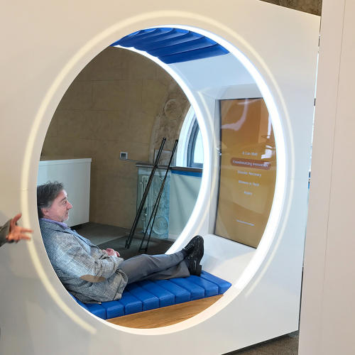 <p>A pod for cozy viewing of AT&amp;T videos.</p>