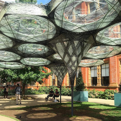 <p>Behold an experiment in architectural biomimicry. The Elytra Filament Pavilion at the V&amp;A Museum is made from glass and lightweight carbon fiber. Woven by a Kuka robot, the structure is based on the shell of the flying elytra beetle.</p>