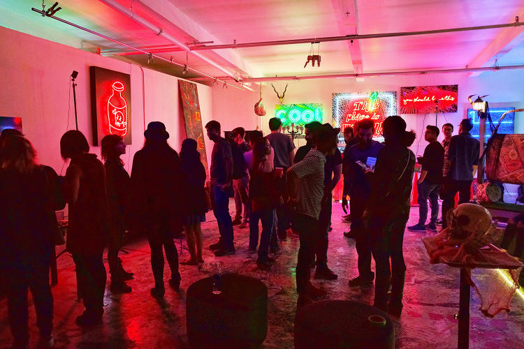 <p>Attendees at the party wandered around a co-working space-turned-haunted mansion.</p>