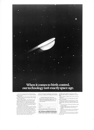<p>A 1980s ad asked people to support more funding to modernize birth control.</p>