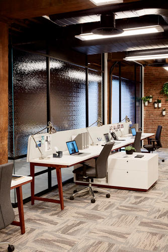 <p>The carpet tiles are by Interface, a brand West Elm partnered with for its Workspace line.</p>