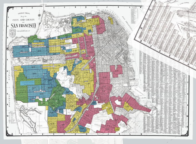 <p>A New Deal-era program asked mortgage lenders and developers in nearly 250 cities to color-code neighborhoods to rank them for the risk of home loans.</p>
