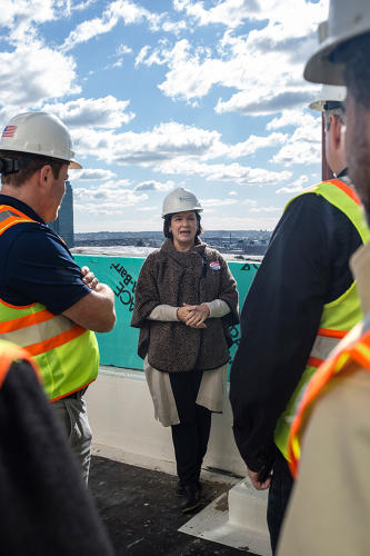 <p>At the end of the tour, attendees rode the elevator to the roof of the House, a 350-unit residential building.</p>
