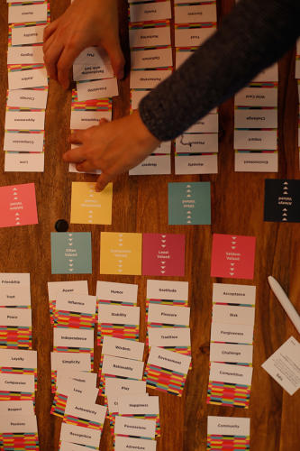 <p><strong>Live in the Grey</strong> had participants sort through a deck of cards in order to rank their values from most to least important.</p>