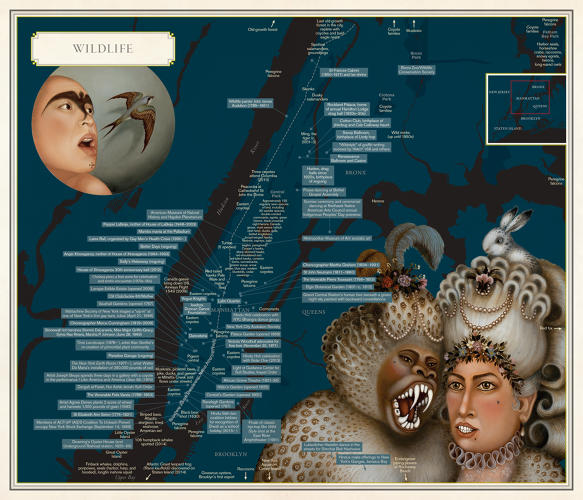 <p>The <em>Wildlife</em> map by Molly Roy and Tino Rodriguez pairs with an essay on unlikely wildlife in the city.</p>