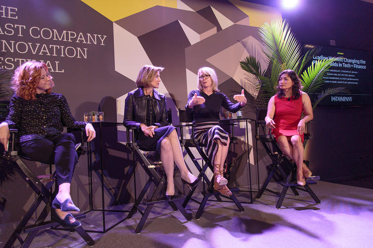 <p>Moderator Lizzie O'Leary (far right) with Ellevest's Sallie Krawcheck, BBG Ventures' Susan Lyne, and theBoardlist's Lesley Grossblatt.</p>