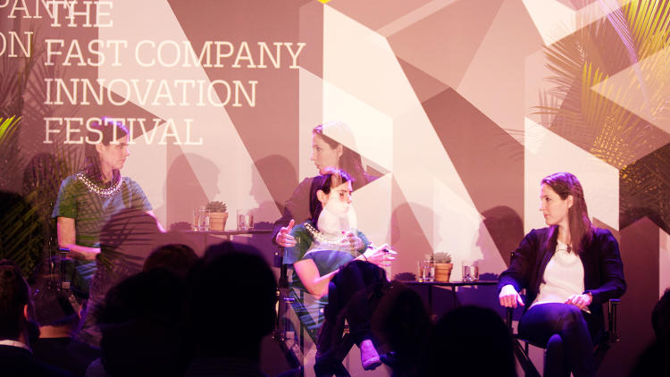 <p>Fast Company's Sarah Kessler (left) and Rachel Holt, Uber GM (U.S. and Canada), at the Fast Company Innovation Festival</p>