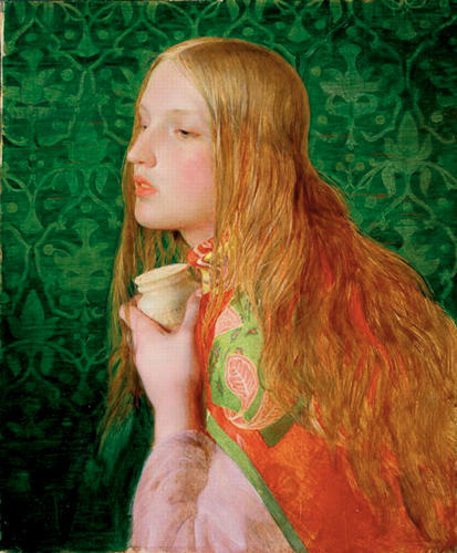 <p><em>Mary Magdalene</em> (c. 1859) by Frederick Sandys has a background of fashionable emerald green Victorian wallpaper, which very likely would have contained arsenic.</p>