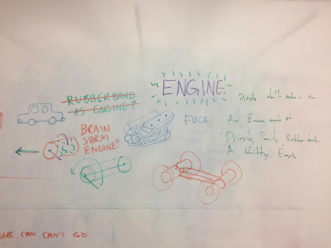 <p>E is for Engine. The designers started with an idea for a rubber band engine but landed on a haiku instead.</p>