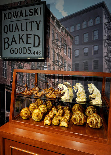 <p>Kowalski's Bakery pastries made from resin and plastic (<em>Fantastic Beasts</em>)</p>
