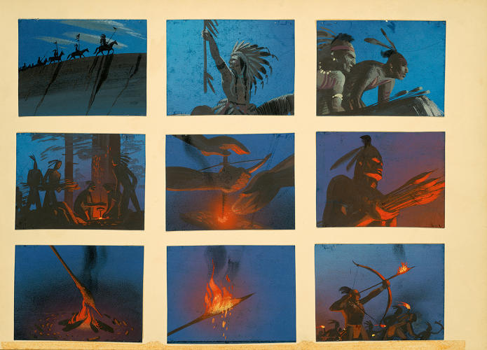 "<p>Dick Kelsey's sense of style is most evident in his elaborate story sketches and story thumbnail art for the unproduced ""Hiawatha"" of the late '40s. Not long after he died in 1987, his drawings were consulted in the making of Pocahontas (1995).</p>"