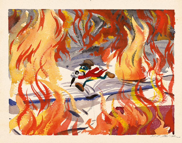 <p>A deleted scene that survives in masterful watercolor story sketches, some of them signed by color stylist Lee Blair.</p>