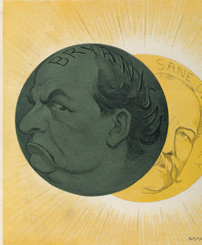 "<p>A satirical cartoon shows Grover Cleveland's sunny face (representing ""sane democracy"") being eclipsed by William Jennings Bryan's darkened visage.</p>"