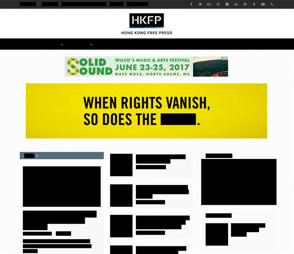 <p>As part of the campaign, the nonprofit also partnered with the <em>Hong Kong Free Press</em> to temporarily redact its entire home page.</p>